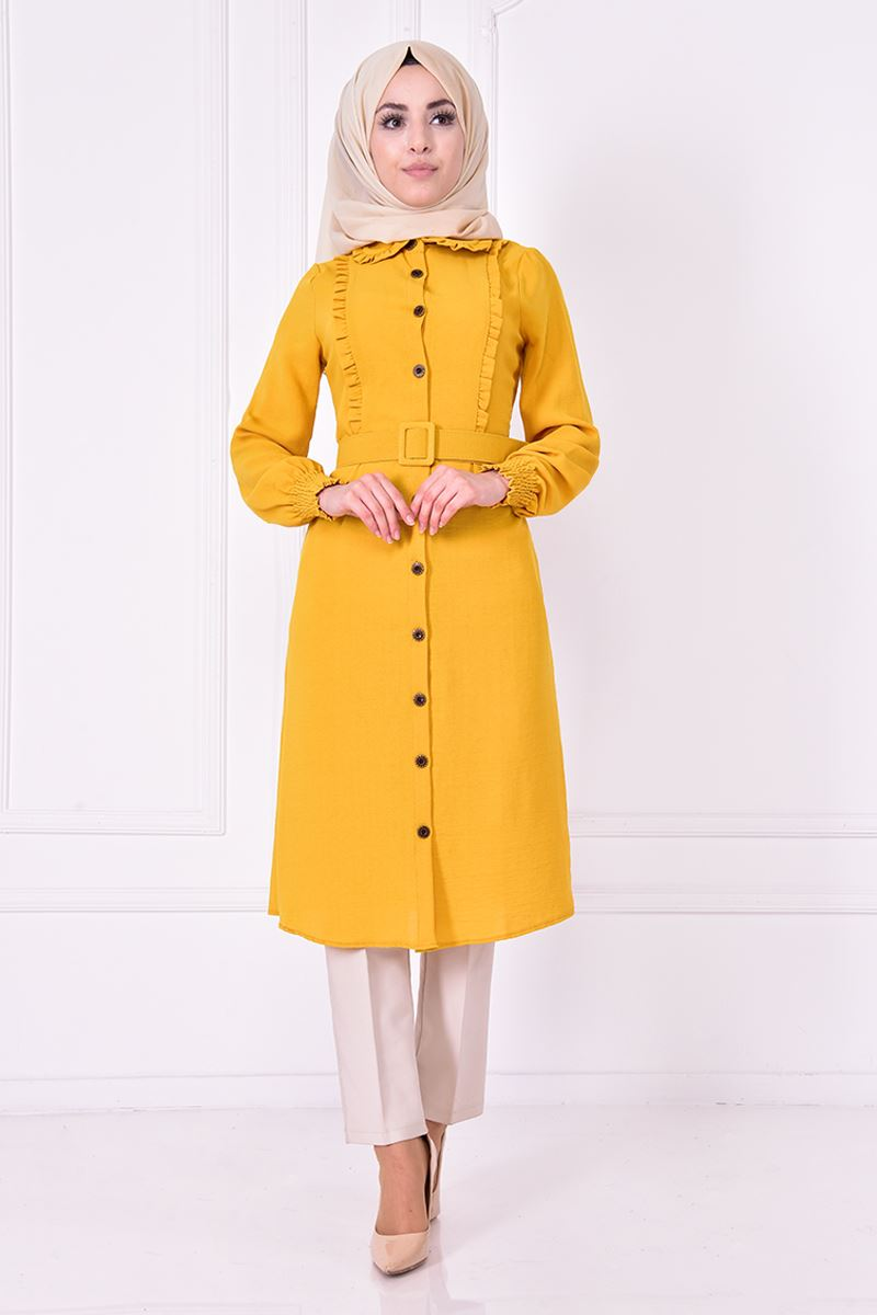 Yellow tunic with belt