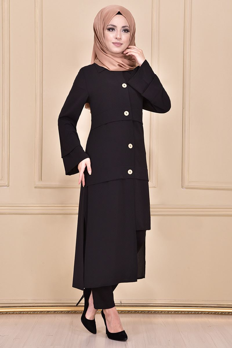 Black tunic with buttons