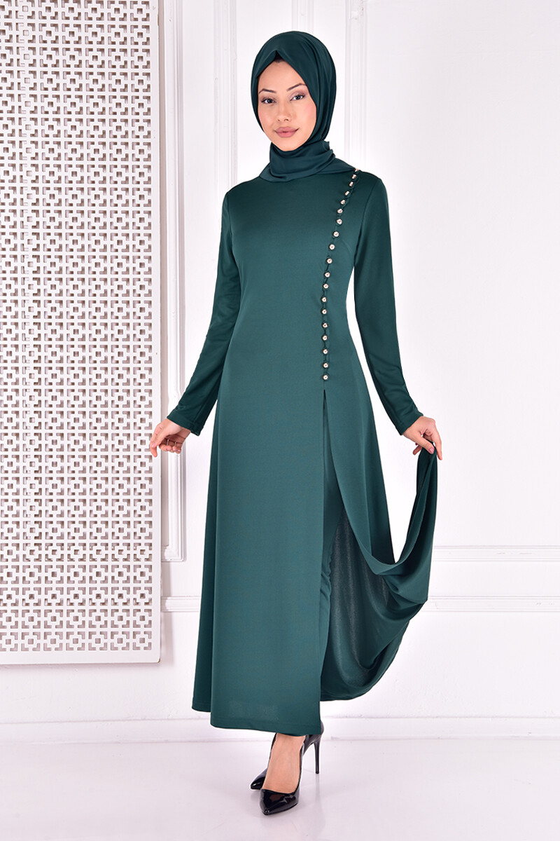 Set of Two-piece with buttons  -emerald green