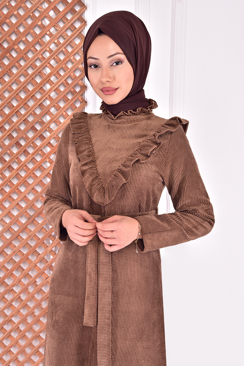 set (two pieces) of velvet - brown