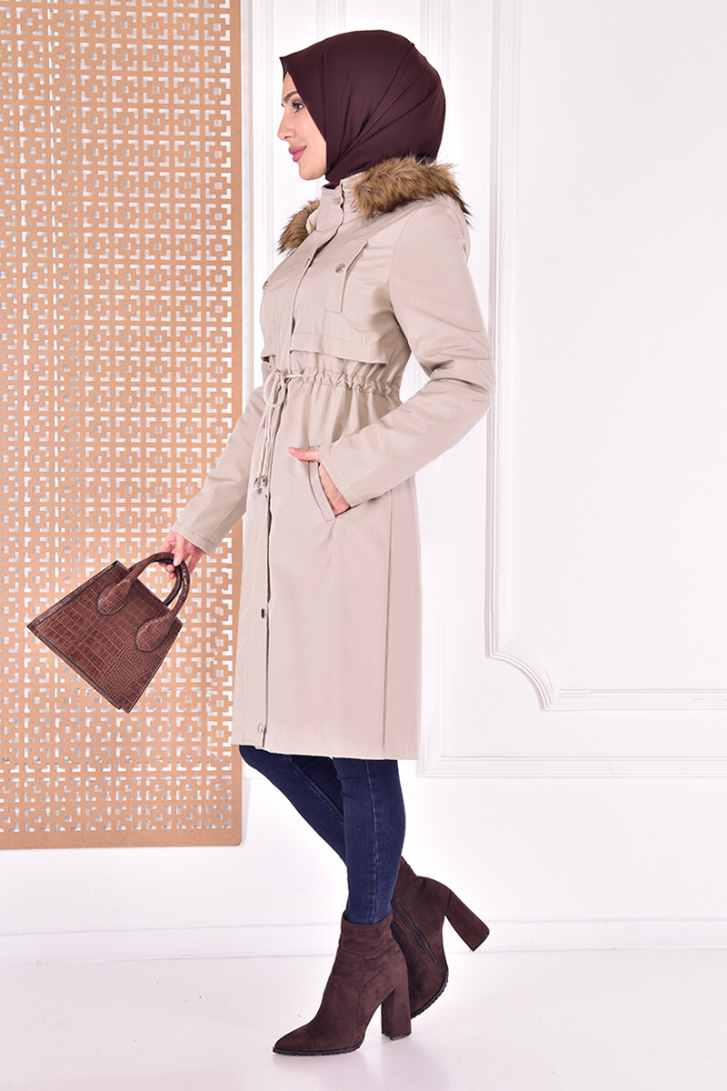 coat with cape - tan