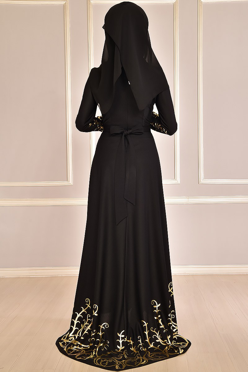 Evening dress ,embroidered in gold, Black color