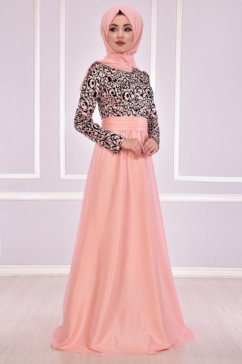 Evening dress {princess style} salmon color